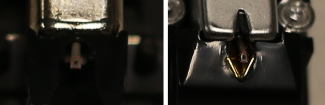 Close-up image of original and new styluses