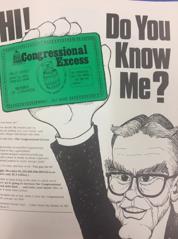 Hi! Do you know me? Congressional Excess. Card sent to members about congressional spending