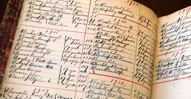 Image of Detail of index page, Funeral ledger