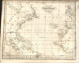 Image of Map showing the relative position of the Azores to North America, Europe, and Africa,