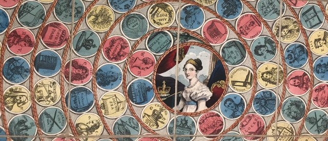 Detail of gameboard with portrait of Queen Victoria,