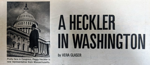 Photo of Headline from a Boston Globe article about Heckler, January 15, 1967.