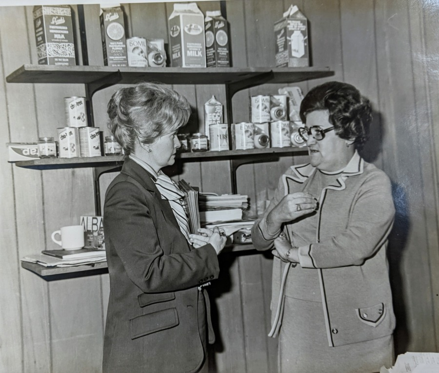 Photograph of Margaret Heckler with nutritionist Mary Madeiros at the Fall River Community Development Service Center, March 10, 1978.