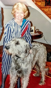 Photograph of Margaret Heckler with her Irish wolfhound, Jackson O'Toole, in the U.S. Ambassador's residence in Dublin, Ireland, circa 1986-1989.
