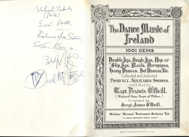 The Dance Music of Ireland: 1001 Gems, by Francis O'Neill. Signed by The Chieftains.