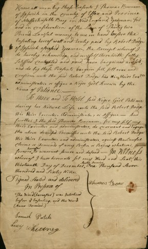 Image of receipt for the sale of Patience, 1769