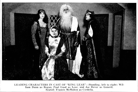 """""""Leading characters in cast of King Lear: Standing, left to right: William Dunn as Regan, Paul Good as Lear, and Joe Dever as General. Seated: Francis McMahon as Cordelia."""""""