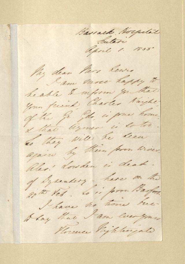Nightingale letter to Lewis - 1855