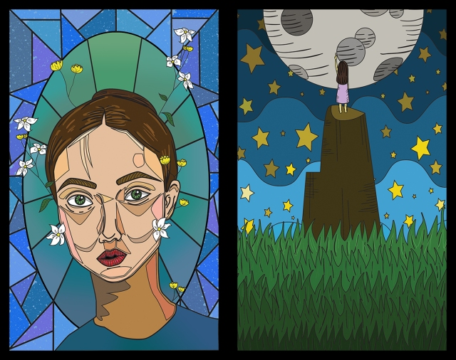 Images of 2 stained glass panels designed by Adrianna Zhao