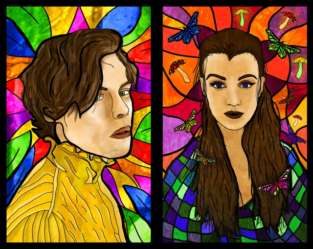 Image of 2 stained glass panels designed by Emma Campbell