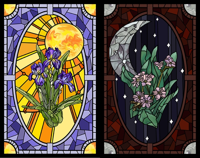 Image of 2 stained glass panels designed by Frankie Mancini