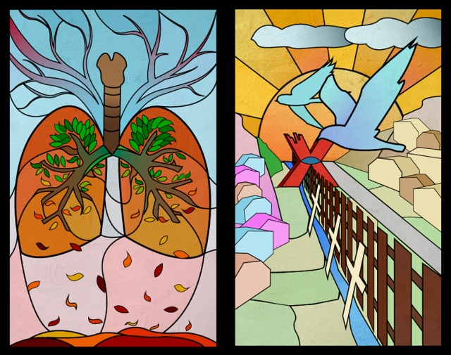 Image of 2 stained glass panels designed by Jamie Sung
