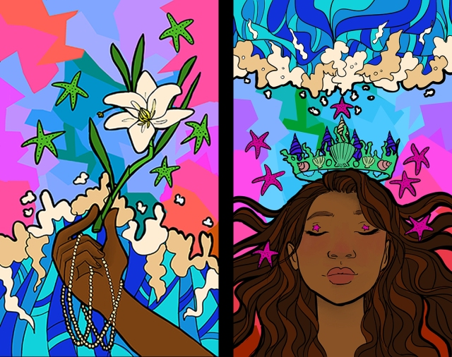 Image of 2 stained glass panels designed by Julia Martins