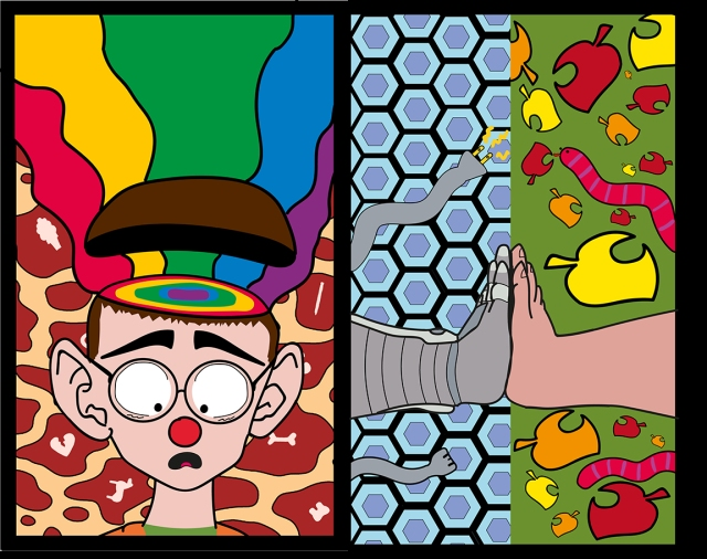 Image of 2 stained glass panels designed by Nick Hillis