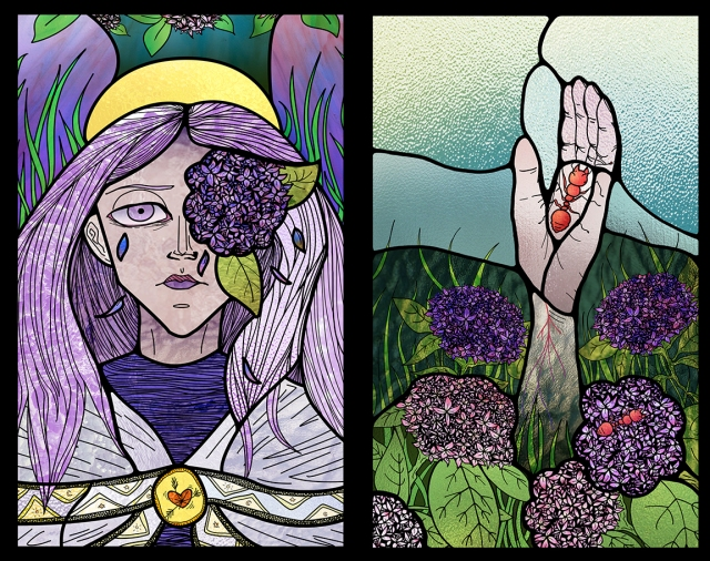 Image of 2 stained glass panels designed by Sarah Ricks