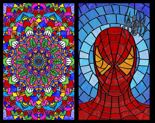 Image of 2 stained glass panels designed by Sofia Fernandez