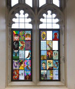 picture of what Devlin Hall window would have looked like with stained glass designs