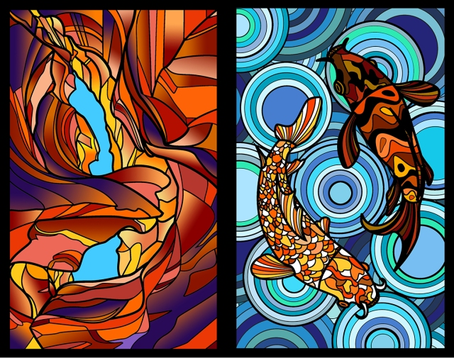 Image of 2 stained glass panels designed by Taryn Peng
