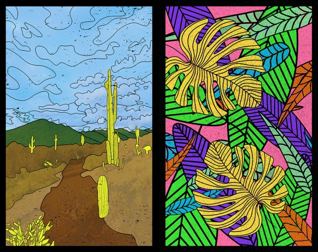 Image of 2 stained glass panels designed by Victoria Markow