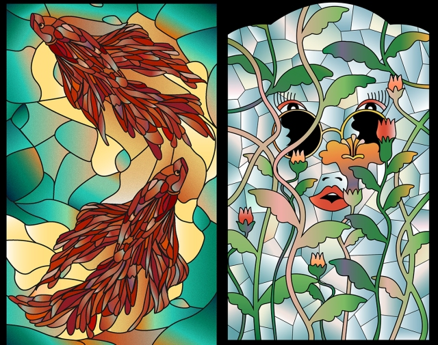 Image of 2 stained glass panels designed by Xinying Wang
