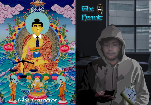 Emperor: Image of seated Buddha, wearing a necktie and holding a blue ball and scales, against background of throne, water, and clouds: Hermit: portrait of artist in a hoodie, against a window, holding