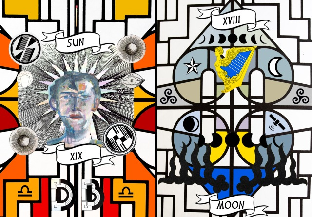 Sun: portrait with halo against strong, geometric background, with celestial images; Moon: Phases of the moon with stars, Irish Harp figure, and triskelion
