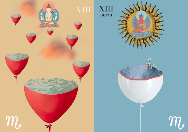 Untitled: the bottom half of 8 red balloons, filled with water, float in sky with Buddha figure and clouds background; Death: bottom half of a single while balloon, filled with water and a skeleton torso/head, with a buddha figure imposed over a sun