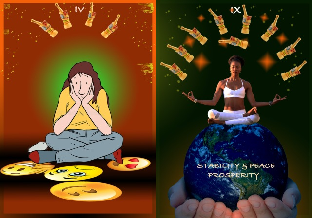 Crosslegged figure, with face in hands, looking at various emojis on floor: Prosperity: Figure in lotus pose atop earth that is being cupped in hands
