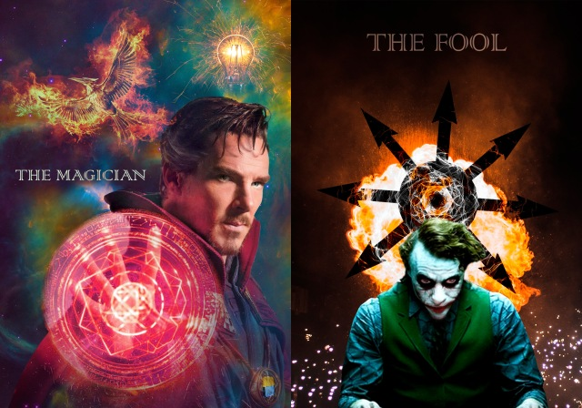 Magician: Portrait of Dr. Strange (as portrayed by Benedict Cumberbatch) with portal, against celestial background with phoenix and lightbulb; Fool: Joker (as portrayed by Joaquin Phoenix) against background with fireworks, fireball, and