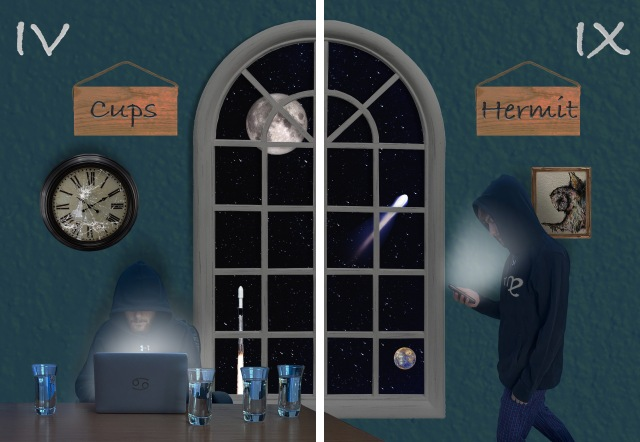 Cups: Lone figure at table at night, lit by laptop, surrounded by glasses; Hermit: solitary figure walking by dark window, lit by cell phone screen
