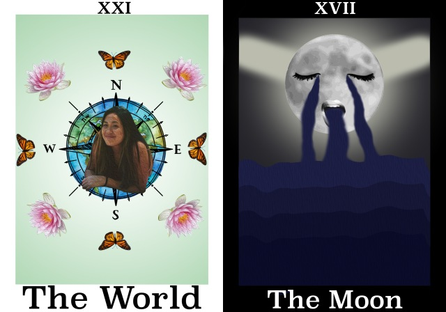 World: portrait over image of world, with compass rose; cardinal points have butterflies, ordinal points indicated with lotus flowers; Moon: Image of moon weeping/vomiting into water/waves