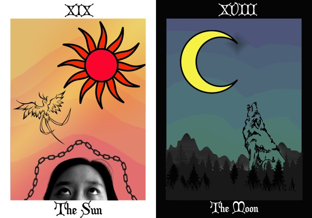 The Sun (portrait against mountains with sun, chain, and phoenix); The Moon (howling wolf agains mountains, trees, mountains)