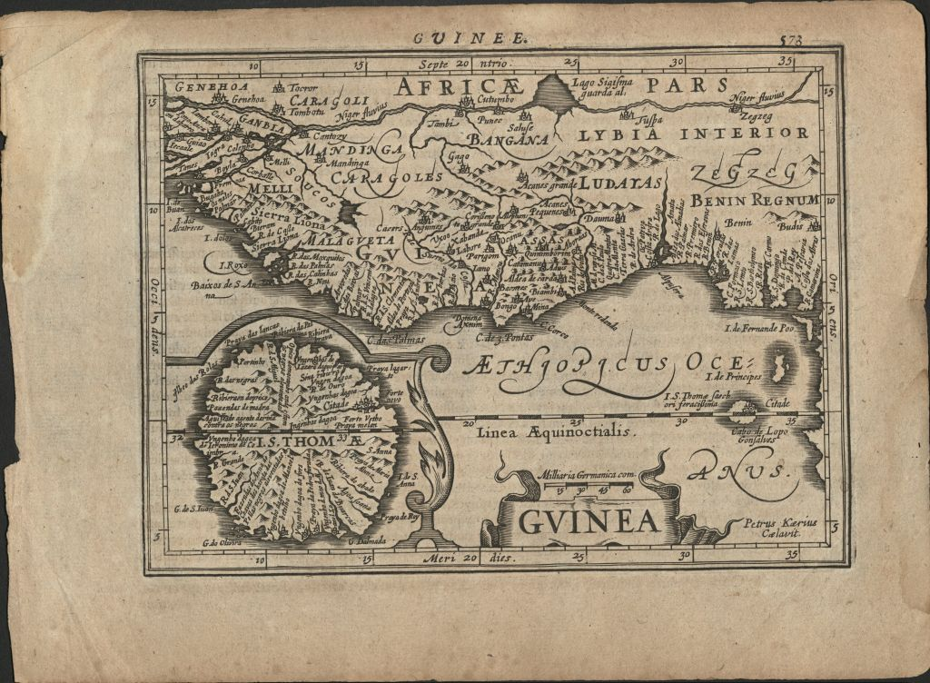 Square map in Latin showing section of West African coastline, titled Guinea