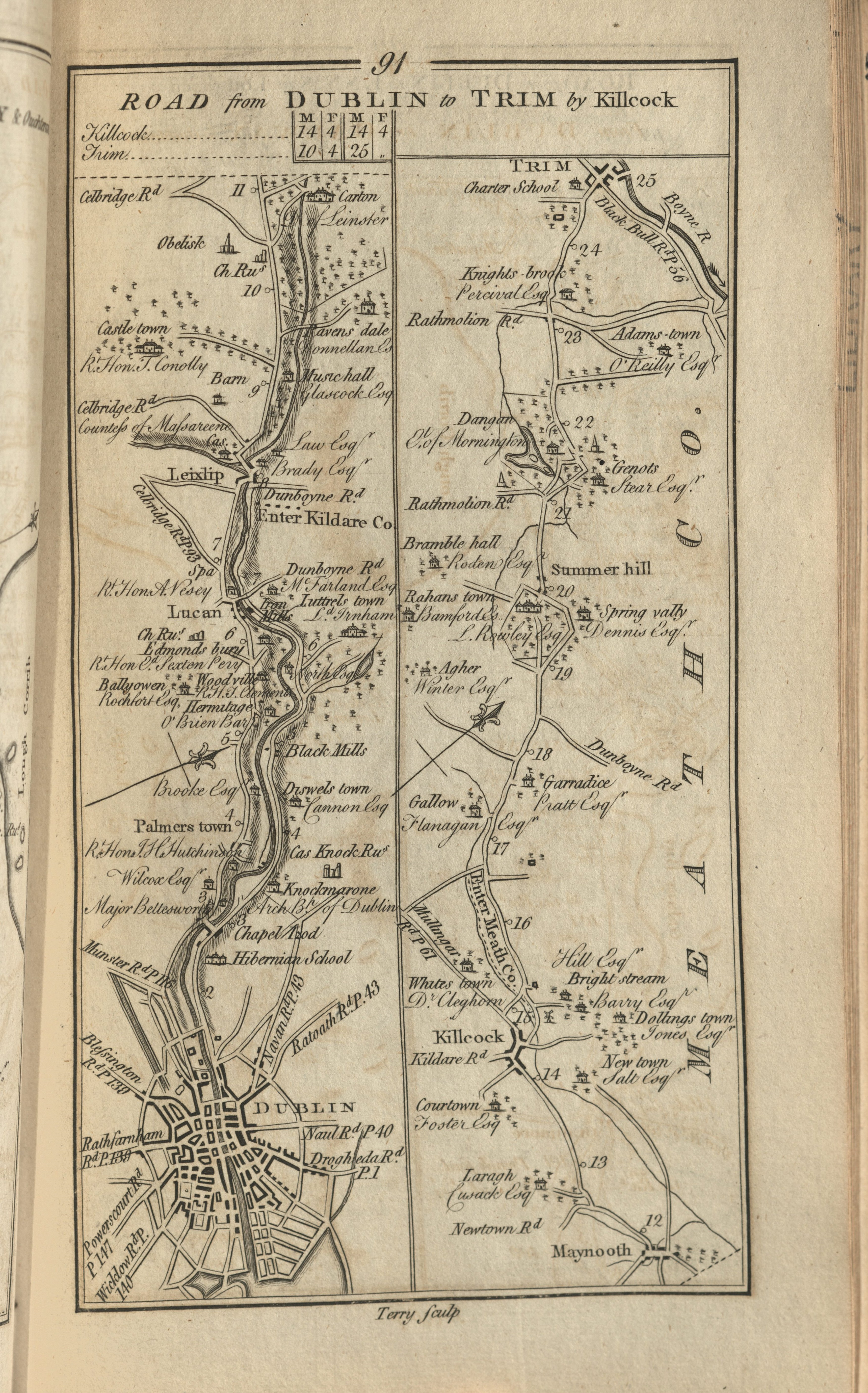 Map showing Irish roads from Dublin to Trim by Killock
