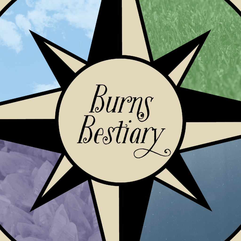 Compass rose with Burns Bestiary written on it dividing four sections - one of light blue sky with clouds, one of grass, one of water droplets, and one of purple mist