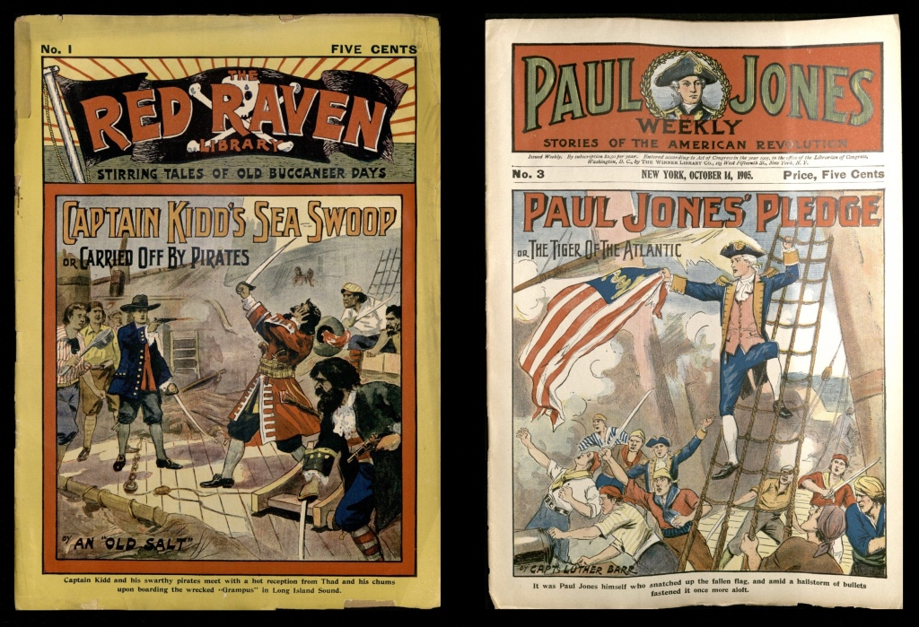 """Left: On the deck of a ship, the protagonist, Thad, shoots Captain Kidd. Right: During the chaos of a naval battle, fictional hero """"Paul Jones"""" stands above the crowded deck of a ship on a rope ladder, waving an American flag."""