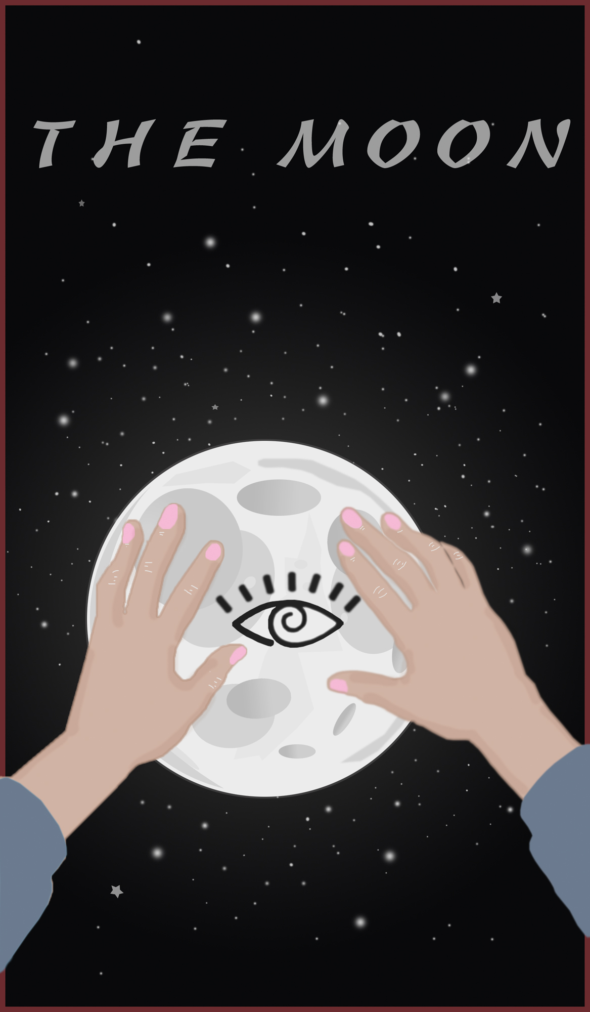 Two large hands touch the moon which has an open eye stamp on it