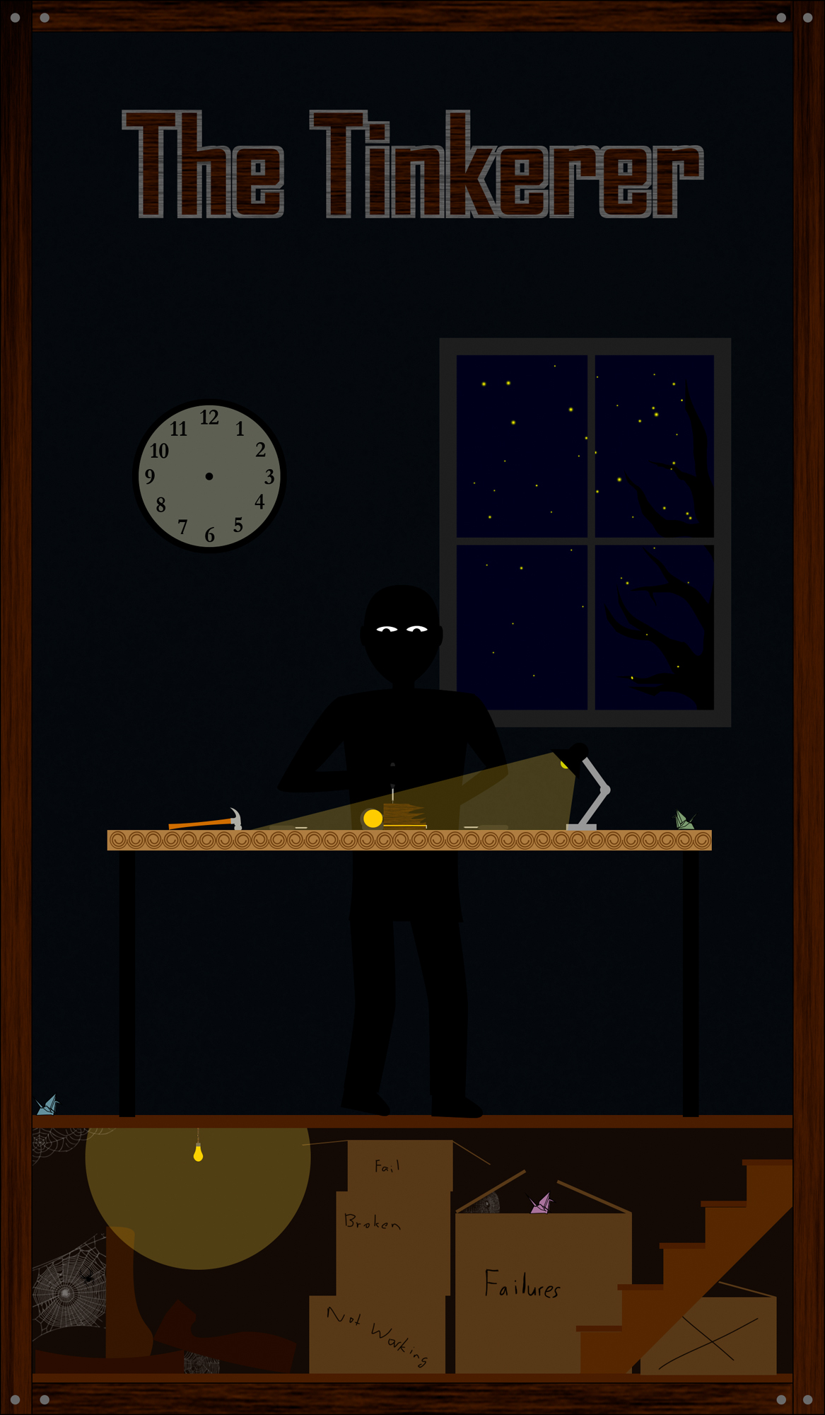Man works in the dark on a tbale of tools, only lit by the moon outside a window and a flashlight. The bottom of the card shows a basement full of boxes labeld failures, not working, and boredom