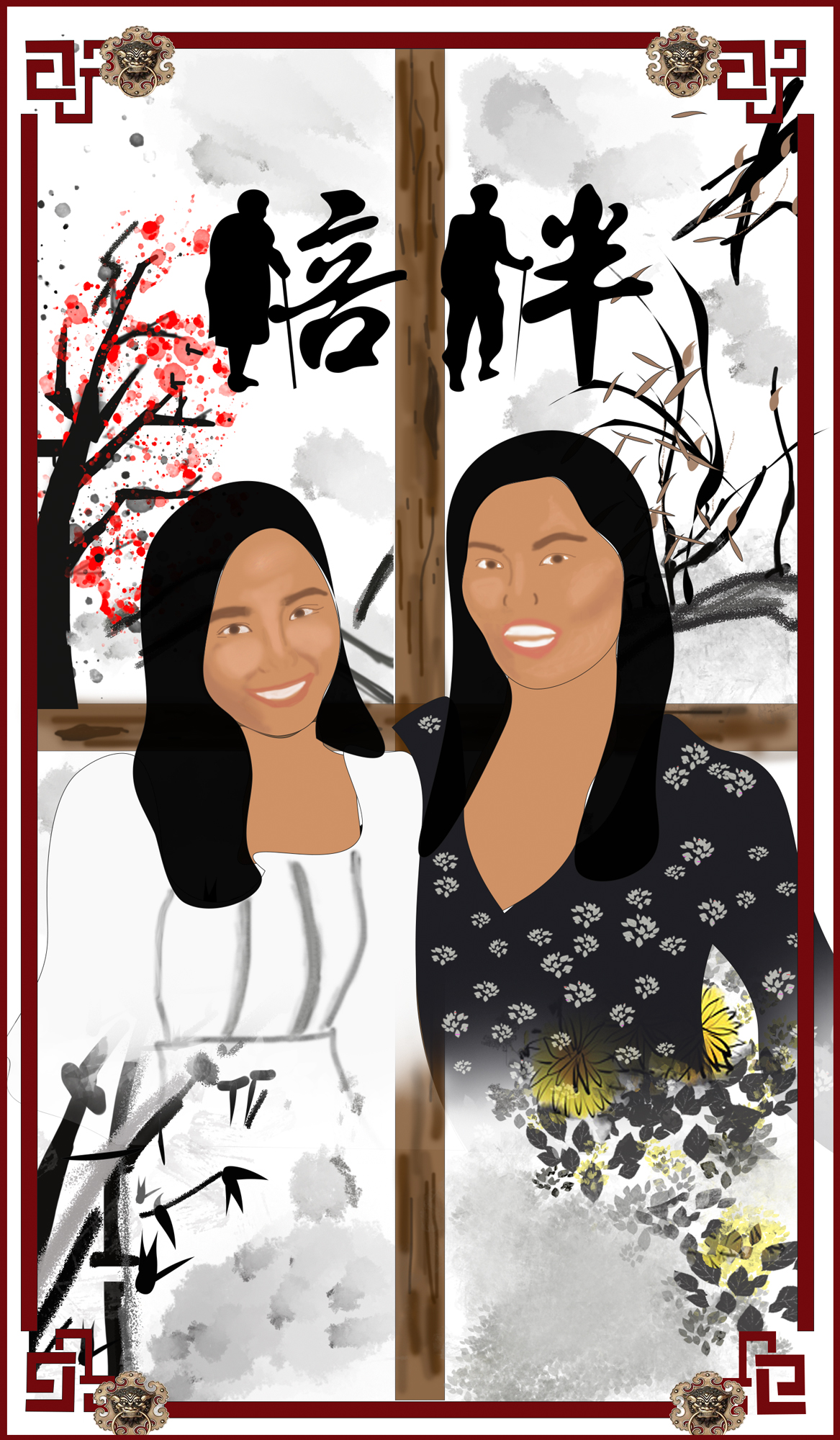 Two women, one in a black shirt with white accents and one in a white shirt with black accents, face the viewer lookng out of a window pane. Chinese characters in red are above their head