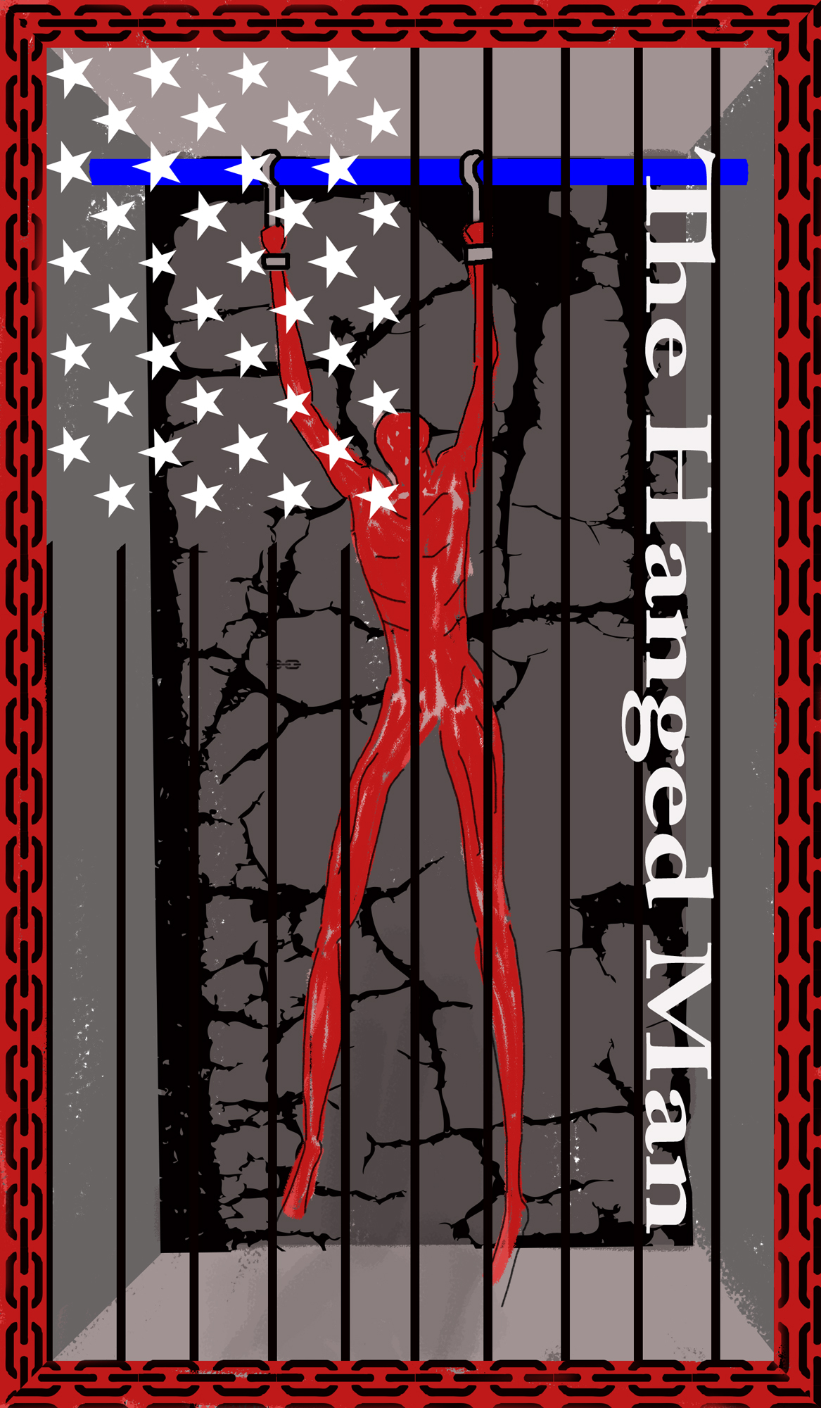 Prison cell with an elongated red figured hanging from the top of the cell. The bordder of the card- red chains- the bars on the cell and stars in the upper left hand corner make an American flag
