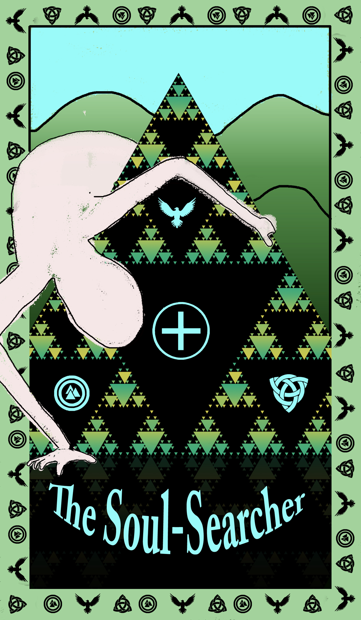 Green figure peers around and into a Sierpiński triangle. Each dark part of the triangle has a different symbol-a Celtic ailm, Celtic knot, Norse valknut, and an eagle