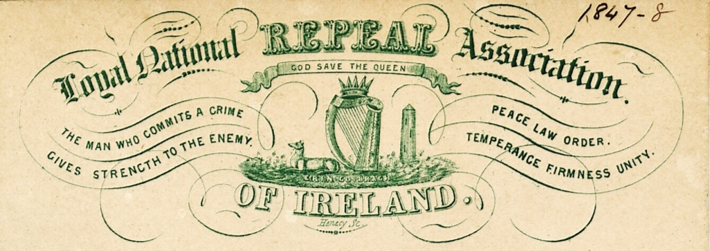 Printed card with illustrations of a crowned harp, wolfhound, round tower, and shamrocks, and the words 'God save the Queen,' and 'Erin go Bragh,' 'The man who commits a crime gives strength to the enemy.' and'Peace, Law, Order. Temperance, Firmness, Unity.'