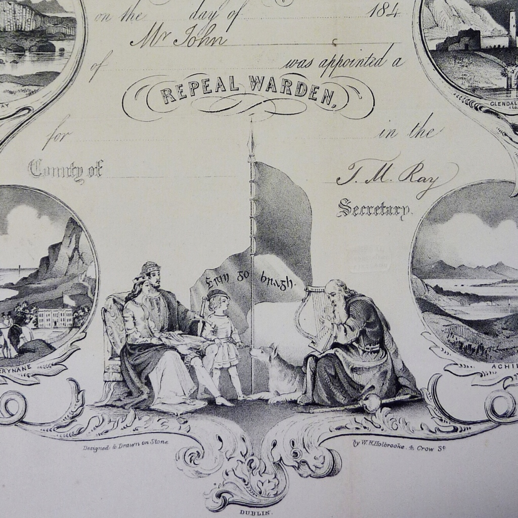 Printed certificate with illustrations of a seated queen and king, a child standing next to them, facing a seated bard with a harp, and a wolfhound, with the phrase 'Erin go Bragh'