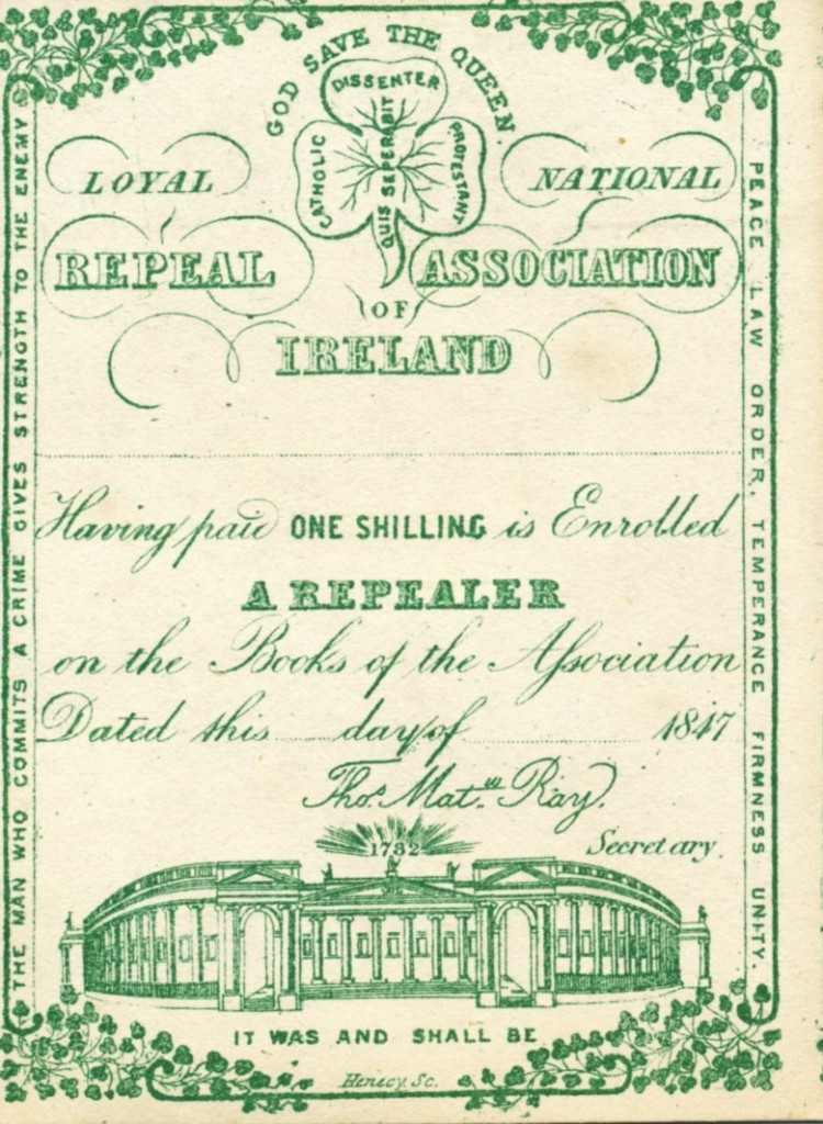 Printed in green ink, illustrations on the card include a shamrocks with the words 'Disenter' 'Catholic' and 'Protestant' and the motto 'Quis Seperabit', the former Parliament Building in Dublin under a sunburst with the year '1782' and the phrases 'It was and shall be,' 'God save the Queen'