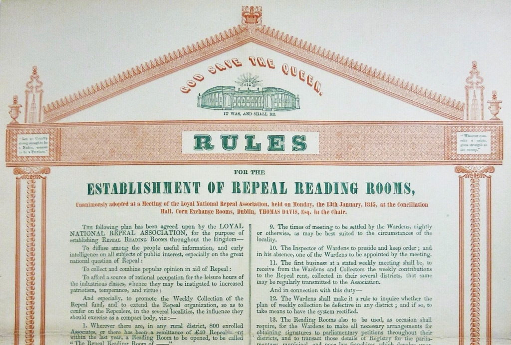A poster with an illustration of the former Parliament House in Dublin with the words 'It was and shall be' under a sunburst with the year 1782, and the phrase 'God Save the Queen,' A detailed list of rules follows
