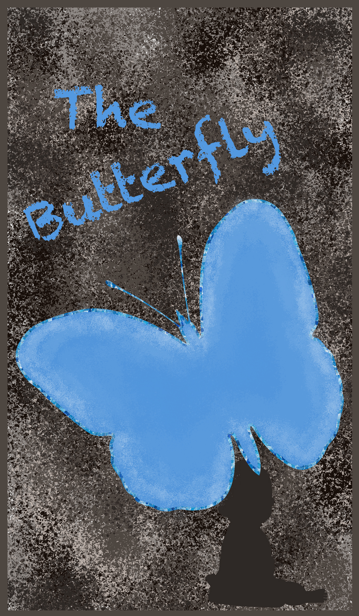 Dark textured background with blue butterfly and the words The Butterfly written in chalk