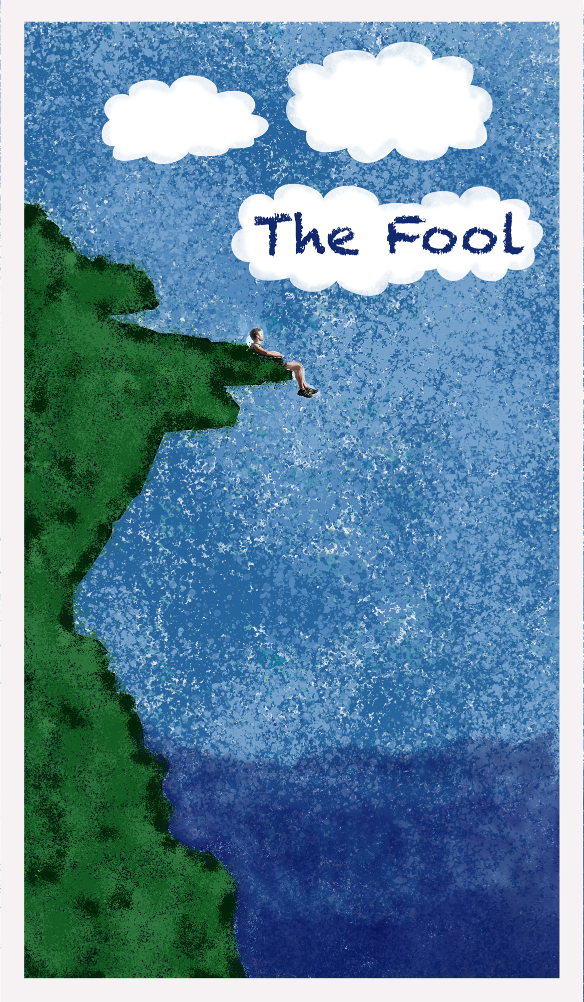 Small figure dangles feet off very large green ciff surrounded by sky and water with the words 'the fool' in a cloud