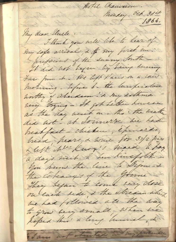 One page handwritten letter in bound volume