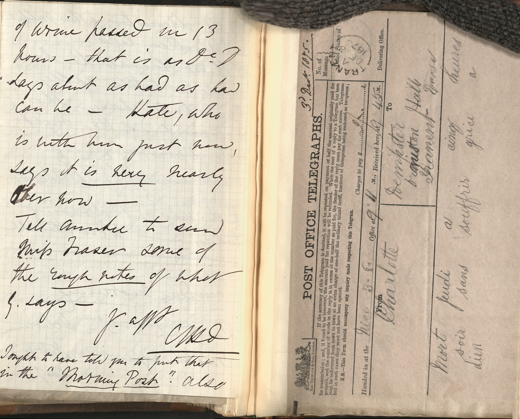 A handwritten letter and a telegram in a bound volume