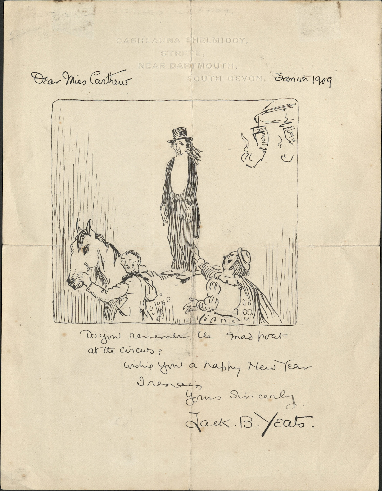 Image of a letter that includes a pen-and-ink sketch by Jack B. Yeats of a circus scene.